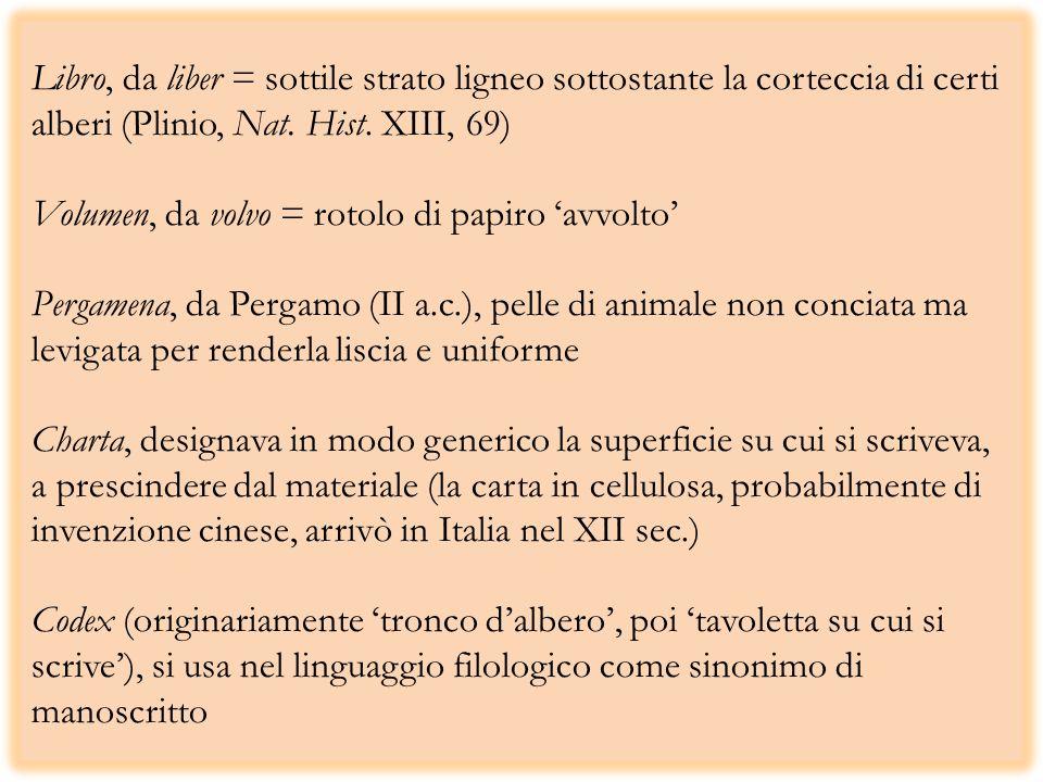 Libro, da liber = sottile strato ligneo sottostante la corteccia di certi alberi (Plinio, Nat. Hist. XIII, 69) Volumen, da volvo = rotolo di papiro av