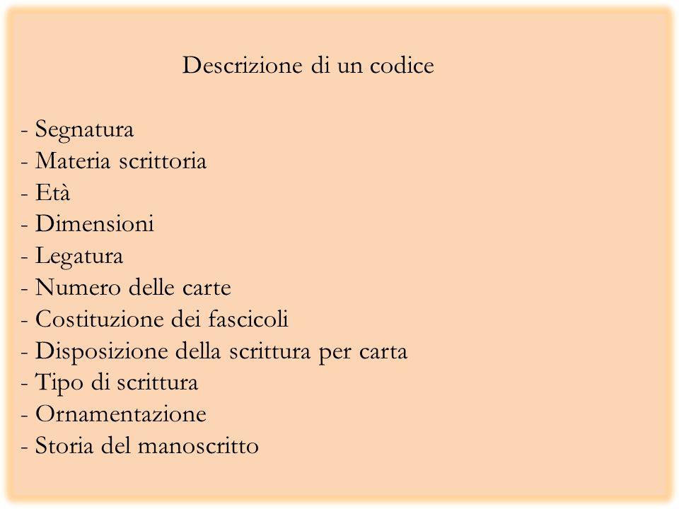 Descrizione di un codice - Segnatura - Materia scrittoria - Età - Dimensioni - Legatura - Numero delle carte - Costituzione dei fascicoli - Disposizio