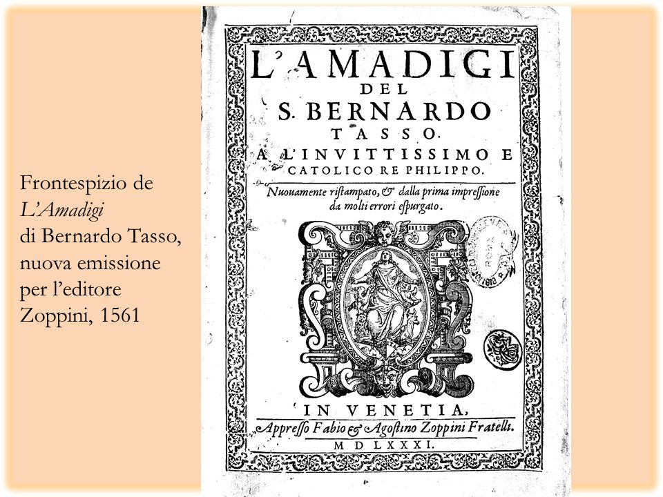 Frontespizio de LAmadigi di Bernardo Tasso, nuova emissione per leditore Zoppini, 1561
