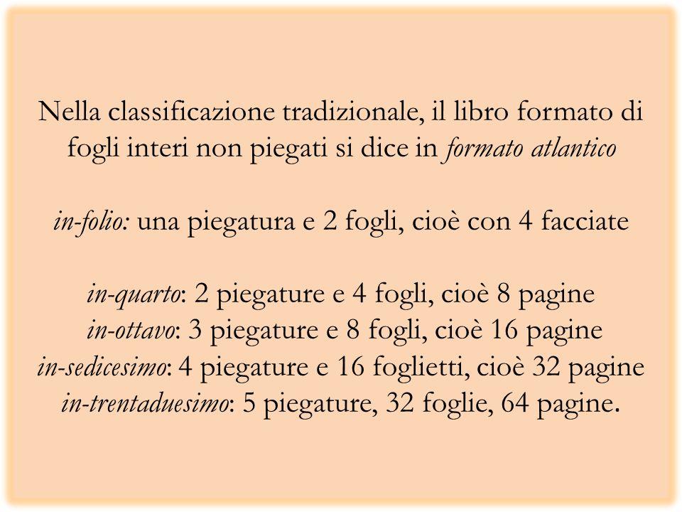 Nella classificazione tradizionale, il libro formato di fogli interi non piegati si dice in formato atlantico in-folio: una piegatura e 2 fogli, cioè