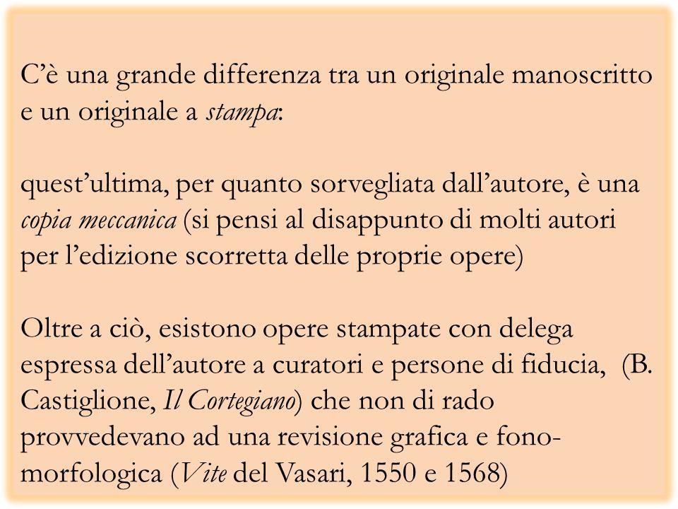 Cè una grande differenza tra un originale manoscritto e un originale a stampa: questultima, per quanto sorvegliata dallautore, è una copia meccanica (