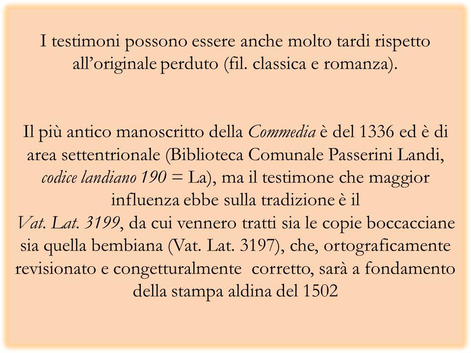 I testimoni possono essere anche molto tardi rispetto alloriginale perduto (fil. classica e romanza). Il più antico manoscritto della Commedia è del 1