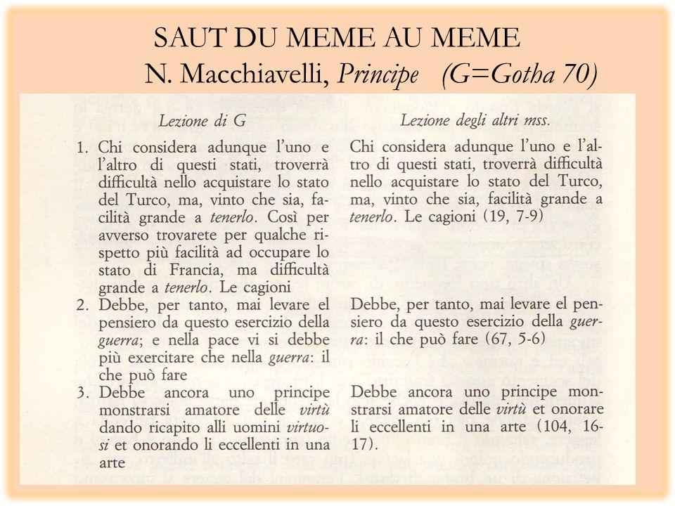 SAUT DU MEME AU MEME N. Macchiavelli, Principe (G=Gotha 70)
