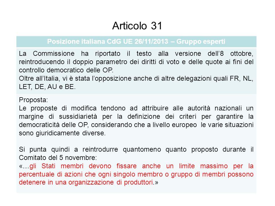 Articolo 31 Posizione italiana CdG UE 26/11/2013 – Gruppo esperti La Commissione ha riportato il testo alla versione dell8 ottobre, reintroducendo il doppio parametro dei diritti di voto e delle quote ai fini del controllo democratico delle OP.