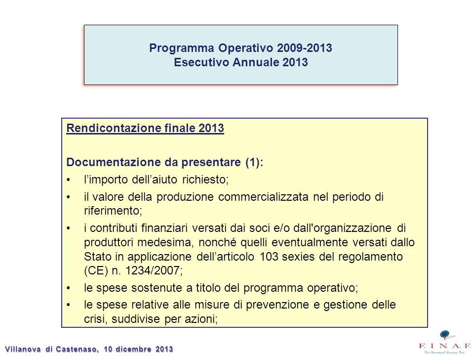 Rendicontazione finale 2013 Documentazione da presentare (1): limporto dellaiuto richiesto; il valore della produzione commercializzata nel periodo di riferimento; i contributi finanziari versati dai soci e/o dall organizzazione di produttori medesima, nonché quelli eventualmente versati dallo Stato in applicazione dellarticolo 103 sexies del regolamento (CE) n.