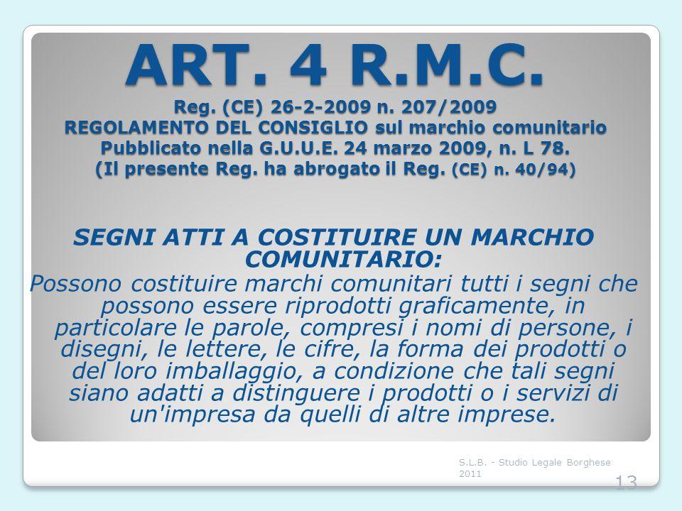 ART. 4 R.M.C. Reg. (CE) 26-2-2009 n. 207/2009 REGOLAMENTO DEL CONSIGLIO sul marchio comunitario Pubblicato nella G.U.U.E. 24 marzo 2009, n. L 78. (Il