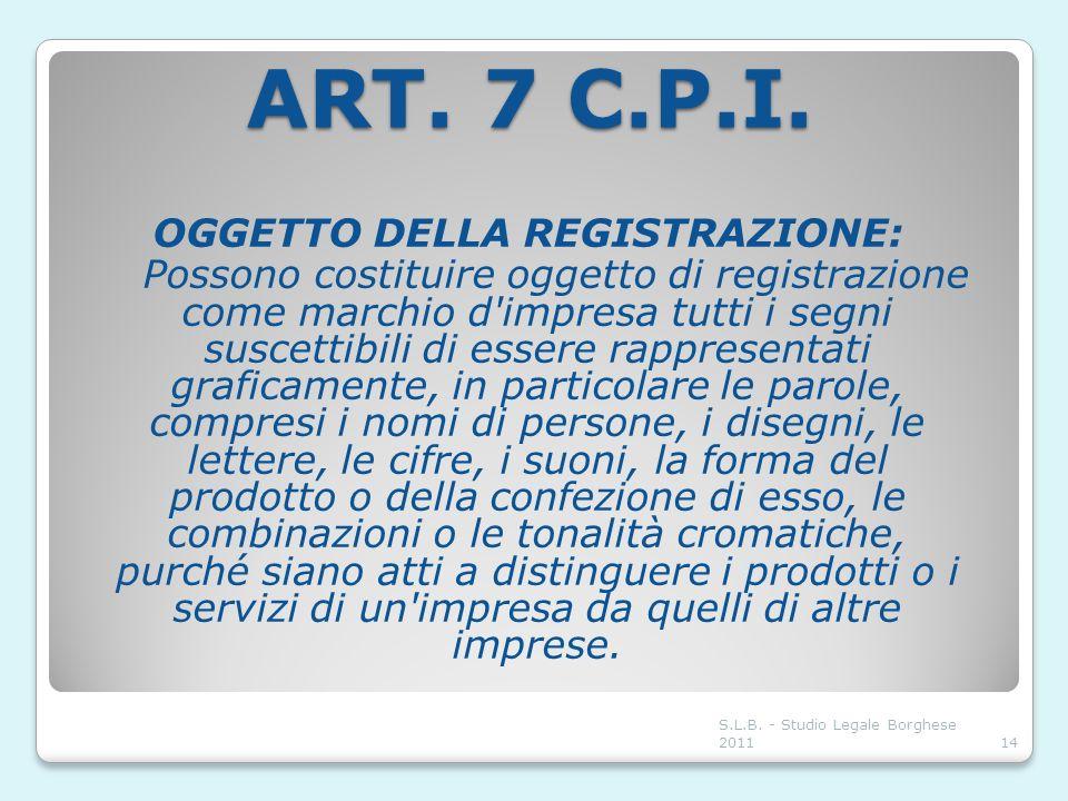 ART. 7 C.P.I. OGGETTO DELLA REGISTRAZIONE: Possono costituire oggetto di registrazione come marchio d'impresa tutti i segni suscettibili di essere rap