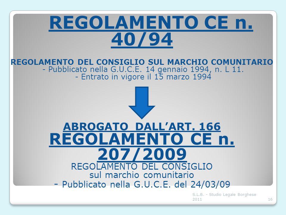 REGOLAMENTO CE n. 40/94 REGOLAMENTO DEL CONSIGLIO SUL MARCHIO COMUNITARIO - Pubblicato nella G.U.C.E. 14 gennaio 1994, n. L 11. - Entrato in vigore il