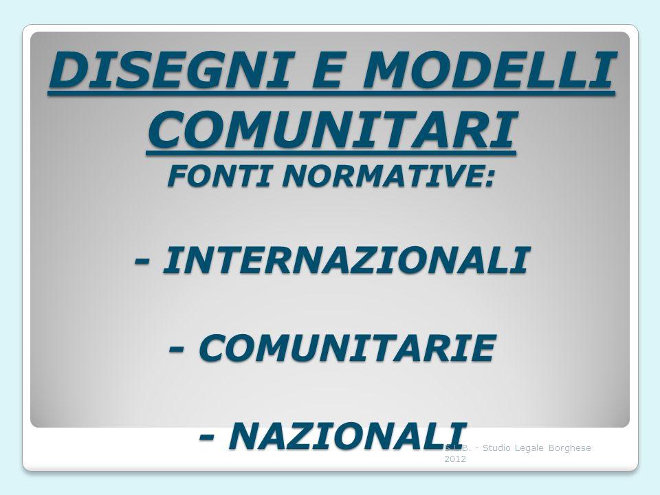 DISEGNI E MODELLI COMUNITARI FONTI NORMATIVE: - INTERNAZIONALI - COMUNITARIE - NAZIONALI S.L.B. - Studio Legale Borghese 2012