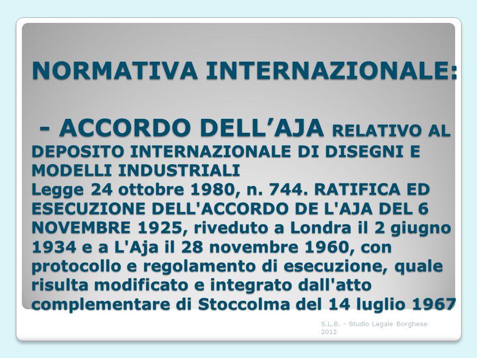 NORMATIVA INTERNAZIONALE: - ACCORDO DELLAJA RELATIVO AL DEPOSITO INTERNAZIONALE DI DISEGNI E MODELLI INDUSTRIALI Legge 24 ottobre 1980, n. 744. RATIFI
