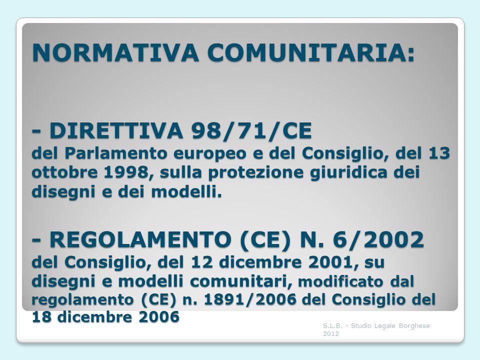 NORMATIVA COMUNITARIA: - DIRETTIVA 98/71/CE del Parlamento europeo e del Consiglio, del 13 ottobre 1998, sulla protezione giuridica dei disegni e dei