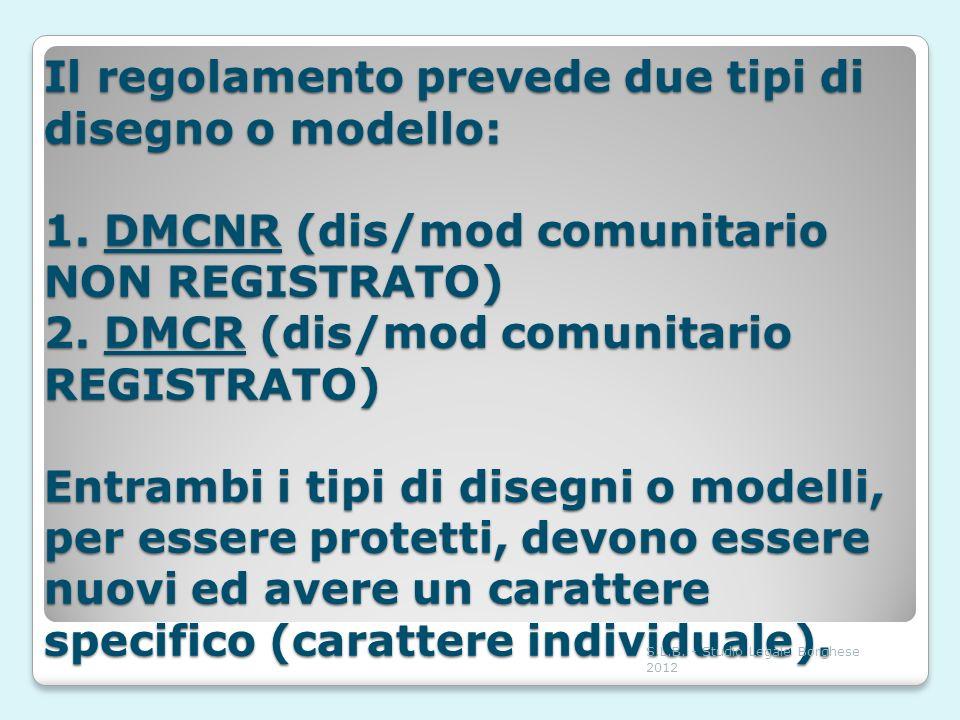 Il regolamento prevede due tipi di disegno o modello: 1. DMCNR (dis/mod comunitario NON REGISTRATO) 2. DMCR (dis/mod comunitario REGISTRATO) Entrambi