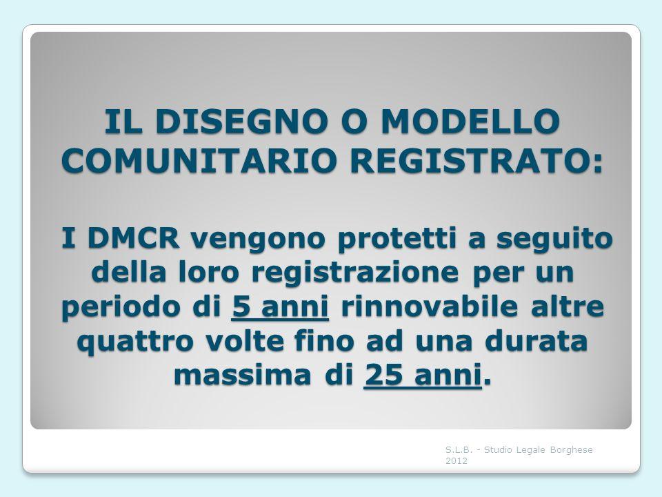 IL DISEGNO O MODELLO COMUNITARIO REGISTRATO: I DMCR vengono protetti a seguito della loro registrazione per un periodo di 5 anni rinnovabile altre qua