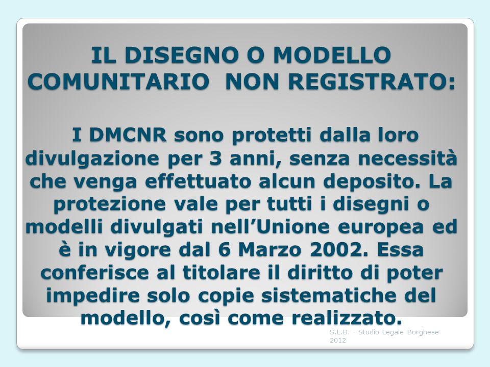 IL DISEGNO O MODELLO COMUNITARIO NON REGISTRATO: I DMCNR sono protetti dalla loro divulgazione per 3 anni, senza necessità che venga effettuato alcun