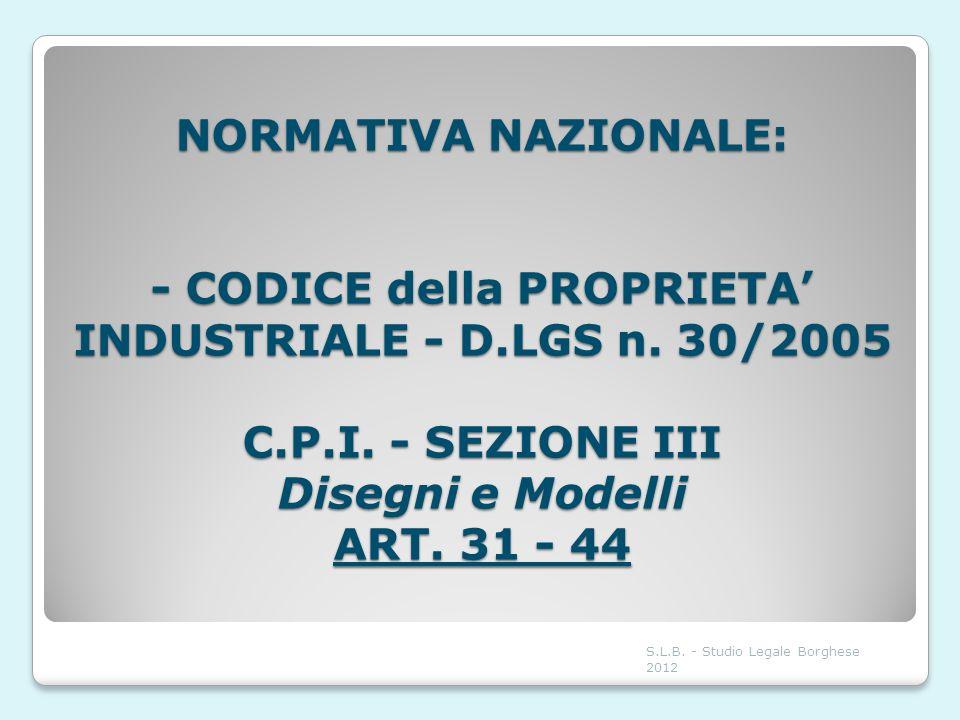 NORMATIVA NAZIONALE: - CODICE della PROPRIETA INDUSTRIALE - D.LGS n. 30/2005 C.P.I. - SEZIONE III Disegni e Modelli ART. 31 - 44 S.L.B. - Studio Legal