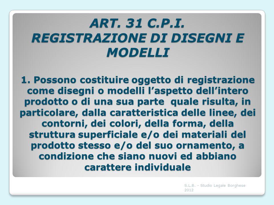 ART. 31 C.P.I. REGISTRAZIONE DI DISEGNI E MODELLI 1. Possono costituire oggetto di registrazione come disegni o modelli laspetto dellintero prodotto o