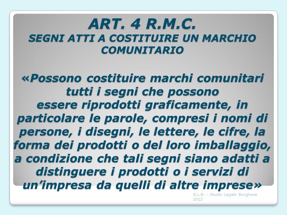 ART. 4 R.M.C. SEGNI ATTI A COSTITUIRE UN MARCHIO COMUNITARIO «Possono costituire marchi comunitari tutti i segni che possono essere riprodotti grafica