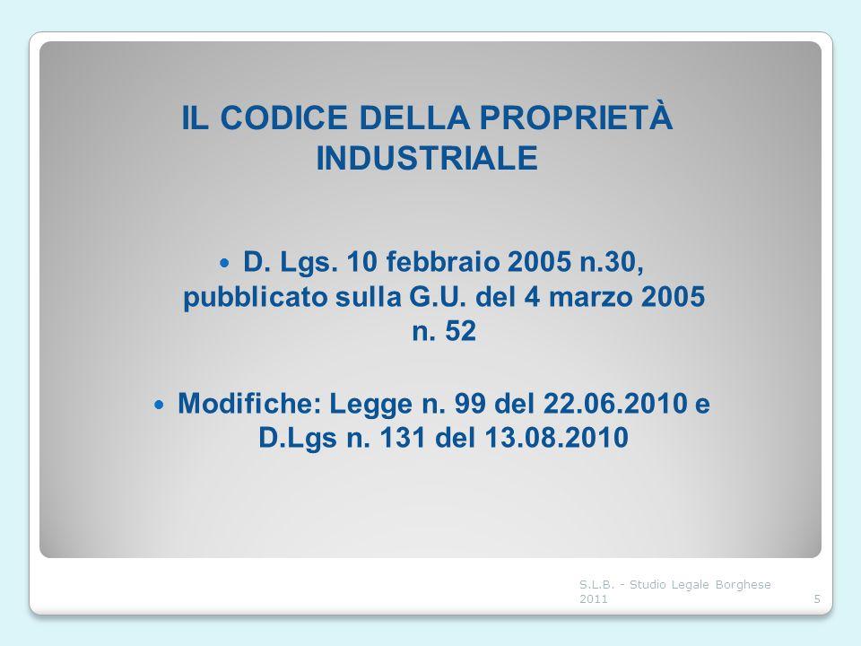 IL CODICE DELLA PROPRIETÀ INDUSTRIALE D. Lgs. 10 febbraio 2005 n.30, pubblicato sulla G.U. del 4 marzo 2005 n. 52 Modifiche: Legge n. 99 del 22.06.201