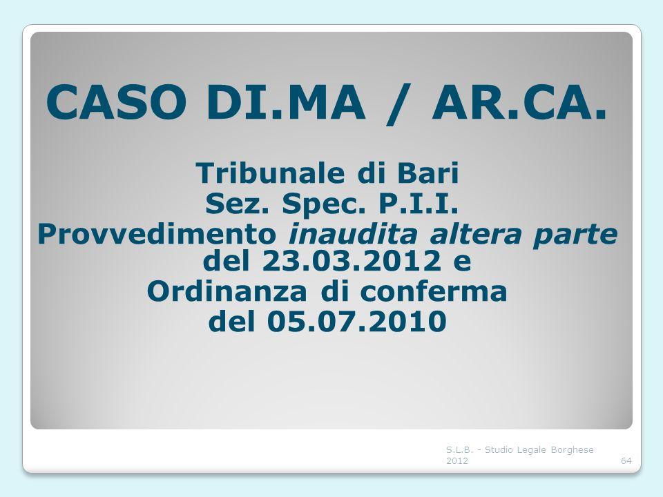S.L.B. - Studio Legale Borghese 201264 CASO DI.MA / AR.CA. Tribunale di Bari Sez. Spec. P.I.I. Provvedimento inaudita altera parte del 23.03.2012 e Or