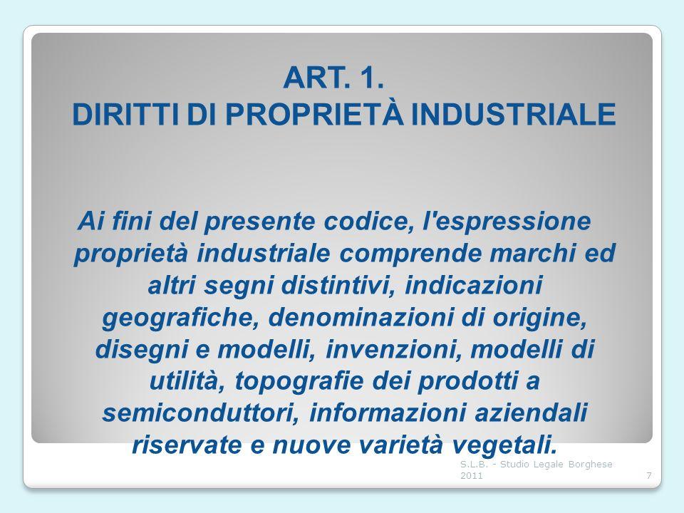 ART. 1. DIRITTI DI PROPRIETÀ INDUSTRIALE Ai fini del presente codice, l'espressione proprietà industriale comprende marchi ed altri segni distintivi,