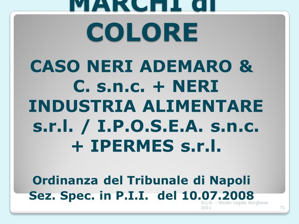 MARCHI di COLORE CASO NERI ADEMARO & C. s.n.c. + NERI INDUSTRIA ALIMENTARE s.r.l. / I.P.O.S.E.A. s.n.c. + IPERMES s.r.l. Ordinanza del Tribunale di Na