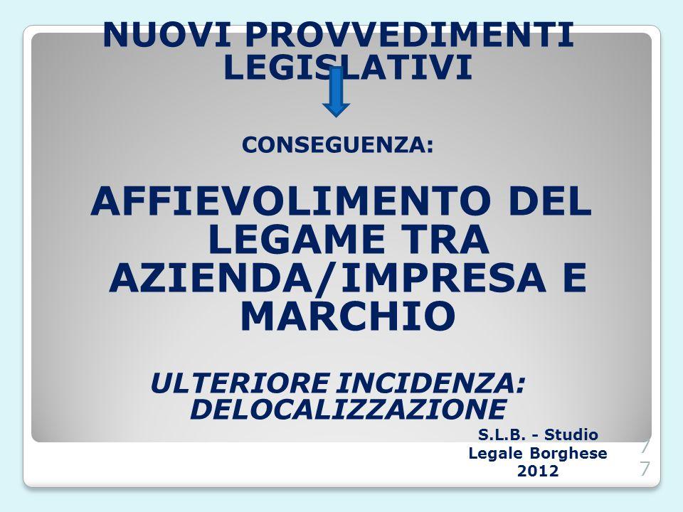 NUOVI PROVVEDIMENTI LEGISLATIVI CONSEGUENZA: AFFIEVOLIMENTO DEL LEGAME TRA AZIENDA/IMPRESA E MARCHIO ULTERIORE INCIDENZA: DELOCALIZZAZIONE S.L.B. - St