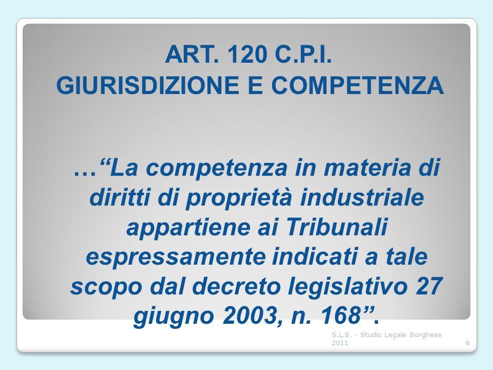 ART. 120 C.P.I. GIURISDIZIONE E COMPETENZA …La competenza in materia di diritti di proprietà industriale appartiene ai Tribunali espressamente indicat