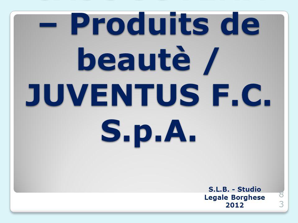 CASO JUVENA – Produits de beautè / JUVENTUS F.C. S.p.A. S.L.B. - Studio Legale Borghese 201283