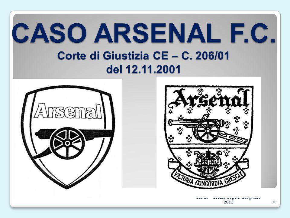 CASO ARSENAL F.C. Corte di Giustizia CE – C. 206/01 del 12.11.2001 S.L.B. - Studio Legale Borghese 201286