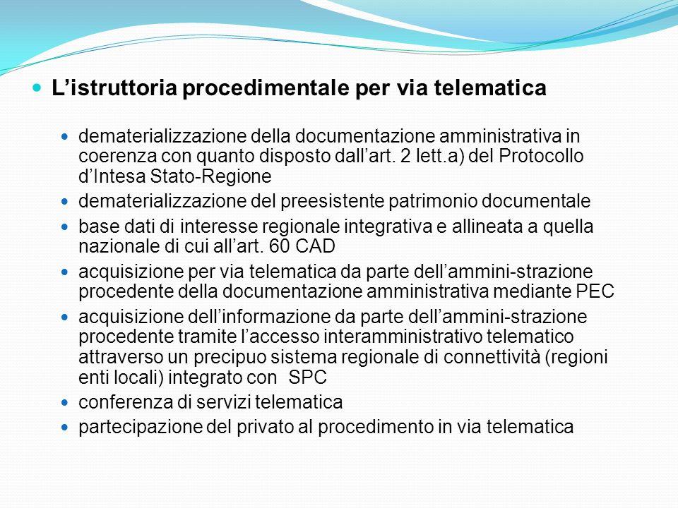 Listruttoria procedimentale per via telematica dematerializzazione della documentazione amministrativa in coerenza con quanto disposto dallart. 2 lett