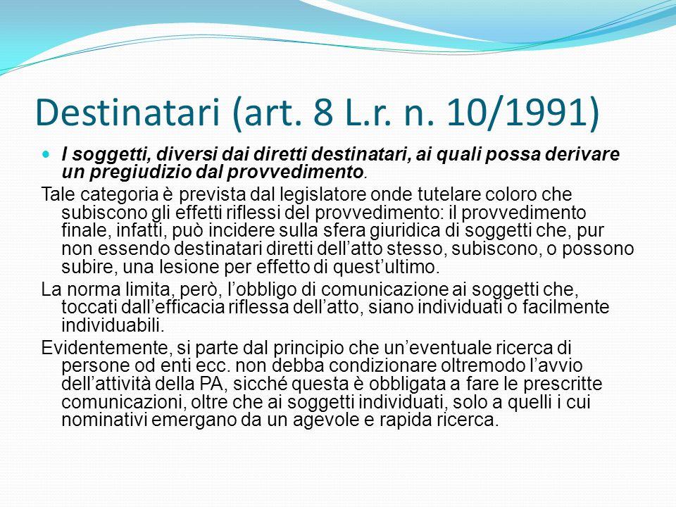 Destinatari (art. 8 L.r. n. 10/1991) I soggetti, diversi dai diretti destinatari, ai quali possa derivare un pregiudizio dal provvedimento. Tale categ