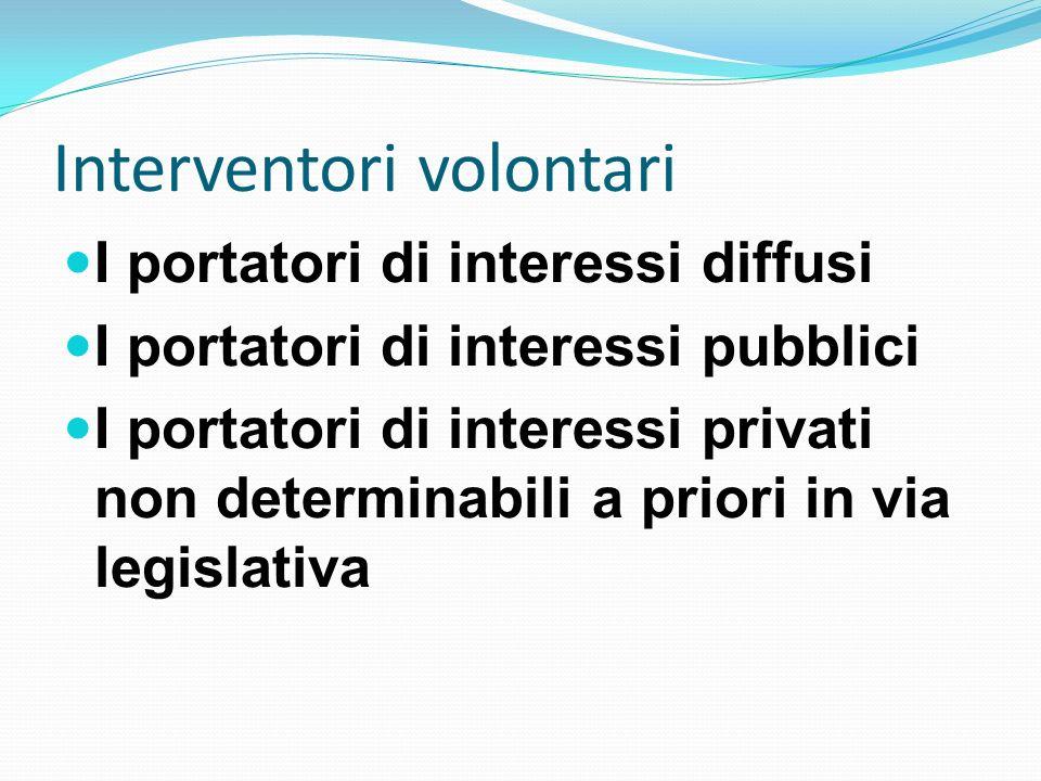 Interventori volontari I portatori di interessi diffusi I portatori di interessi pubblici I portatori di interessi privati non determinabili a priori