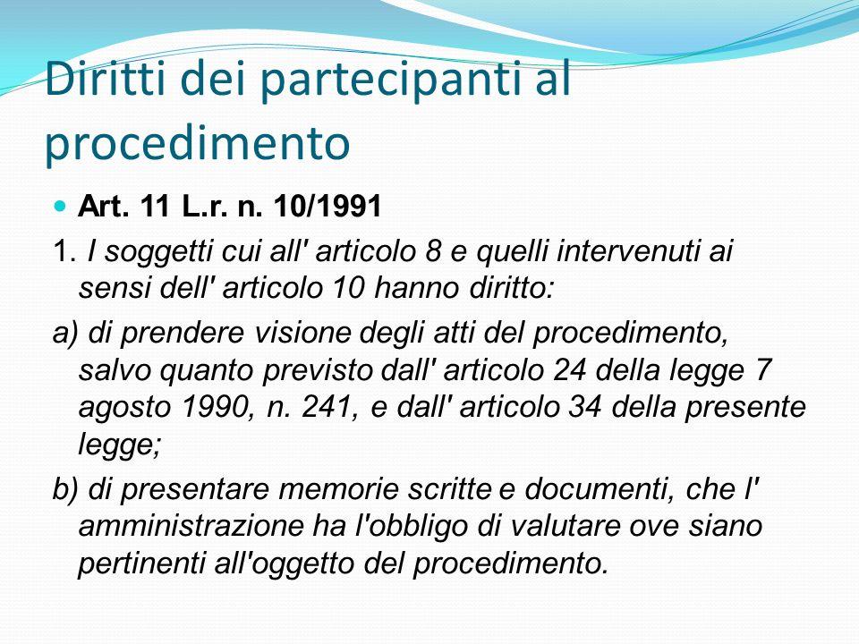 Diritti dei partecipanti al procedimento Art. 11 L.r. n. 10/1991 1. I soggetti cui all' articolo 8 e quelli intervenuti ai sensi dell' articolo 10 han