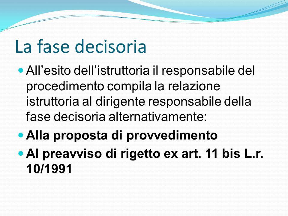 La fase decisoria Allesito dellistruttoria il responsabile del procedimento compila la relazione istruttoria al dirigente responsabile della fase deci