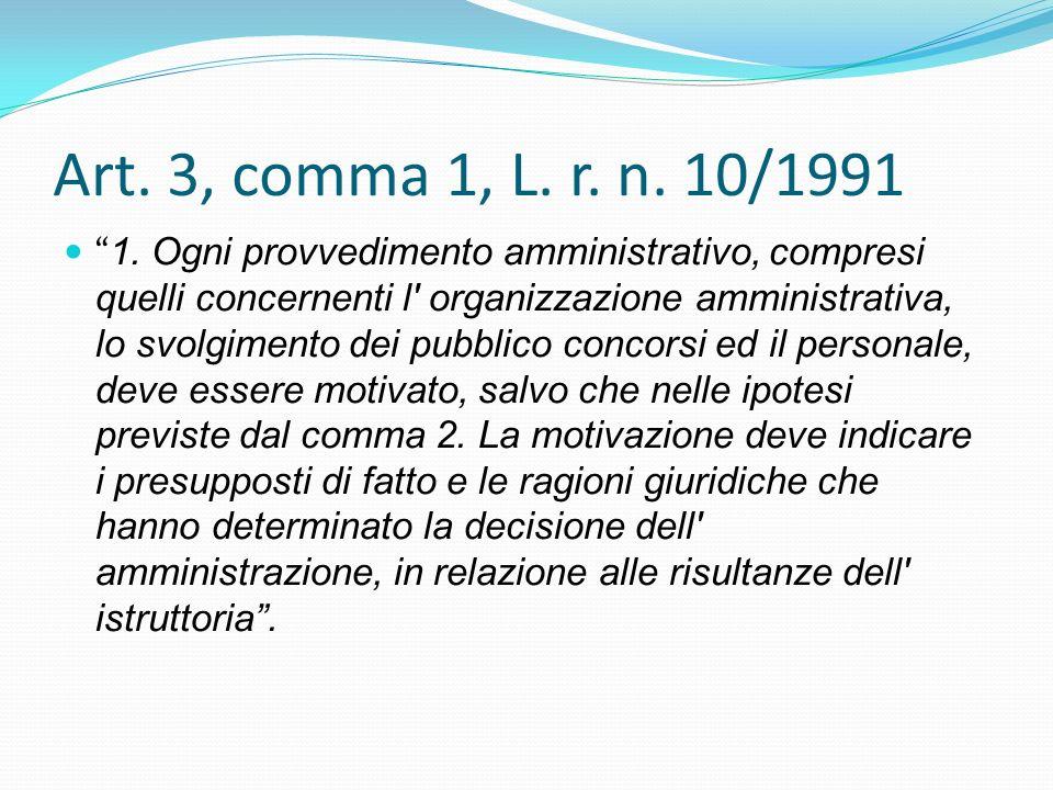 Art. 3, comma 1, L. r. n. 10/1991 1. Ogni provvedimento amministrativo, compresi quelli concernenti l' organizzazione amministrativa, lo svolgimento d