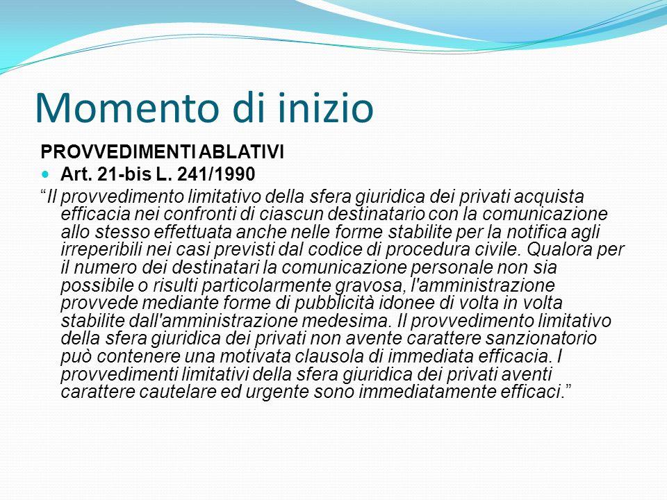 Momento di inizio PROVVEDIMENTI ABLATIVI Art. 21-bis L. 241/1990 Il provvedimento limitativo della sfera giuridica dei privati acquista efficacia nei
