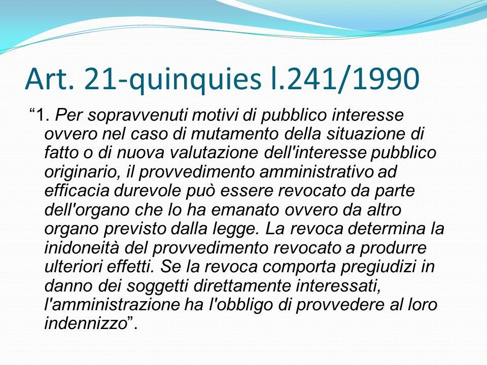 Art. 21-quinquies l.241/1990 1. Per sopravvenuti motivi di pubblico interesse ovvero nel caso di mutamento della situazione di fatto o di nuova valuta