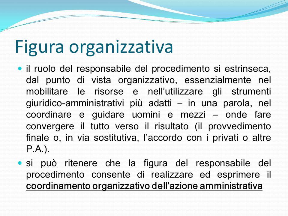 Figura organizzativa il ruolo del responsabile del procedimento si estrinseca, dal punto di vista organizzativo, essenzialmente nel mobilitare le riso