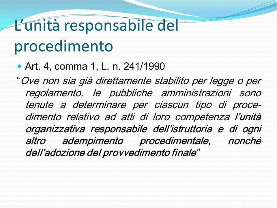 Lunità responsabile del procedimento Art. 4, comma 1, L. n. 241/1990 Ove non sia già direttamente stabilito per legge o per regolamento, le pubbliche