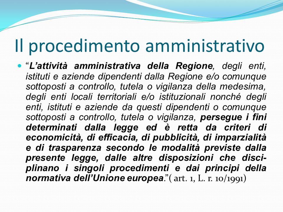 Il procedimento amministrativo Lattività amministrativa della Regione, degli enti, istituti e aziende dipendenti dalla Regione e/o comunque sottoposti
