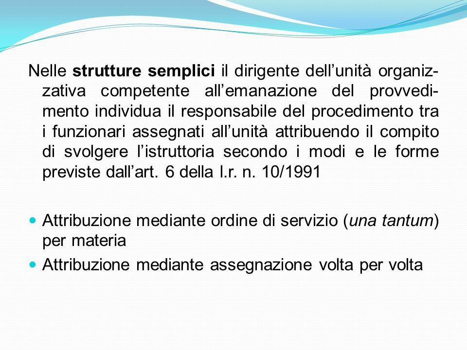 Nelle strutture semplici il dirigente dellunità organiz- zativa competente allemanazione del provvedi- mento individua il responsabile del procediment