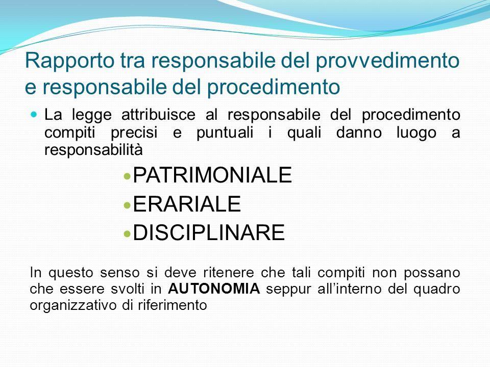 Rapporto tra responsabile del provvedimento e responsabile del procedimento La legge attribuisce al responsabile del procedimento compiti precisi e pu