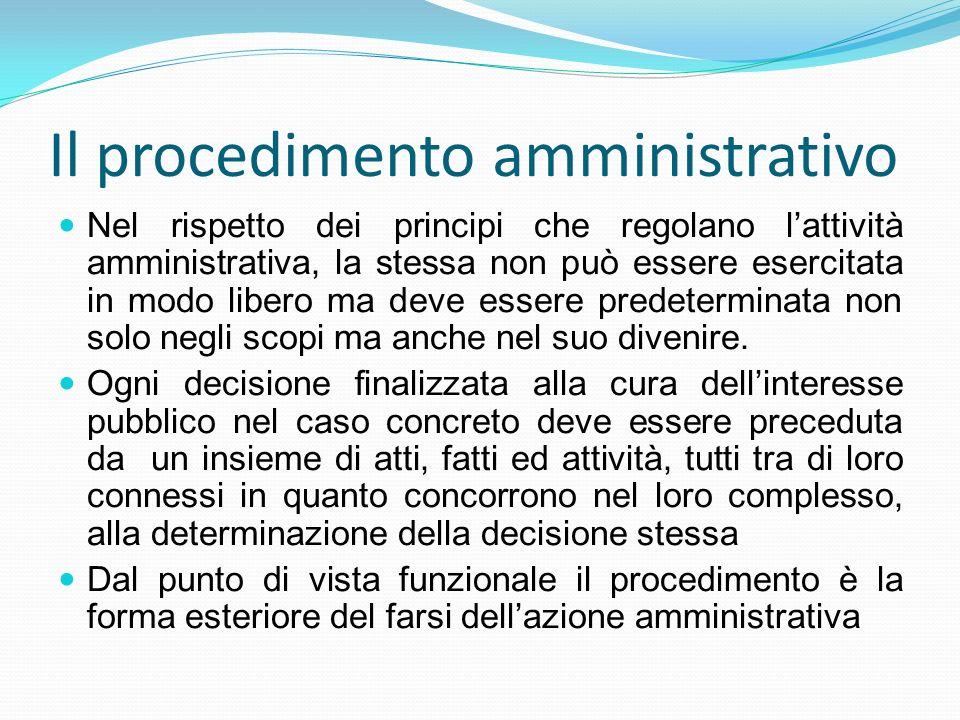 Il procedimento amministrativo Nel rispetto dei principi che regolano lattività amministrativa, la stessa non può essere esercitata in modo libero ma