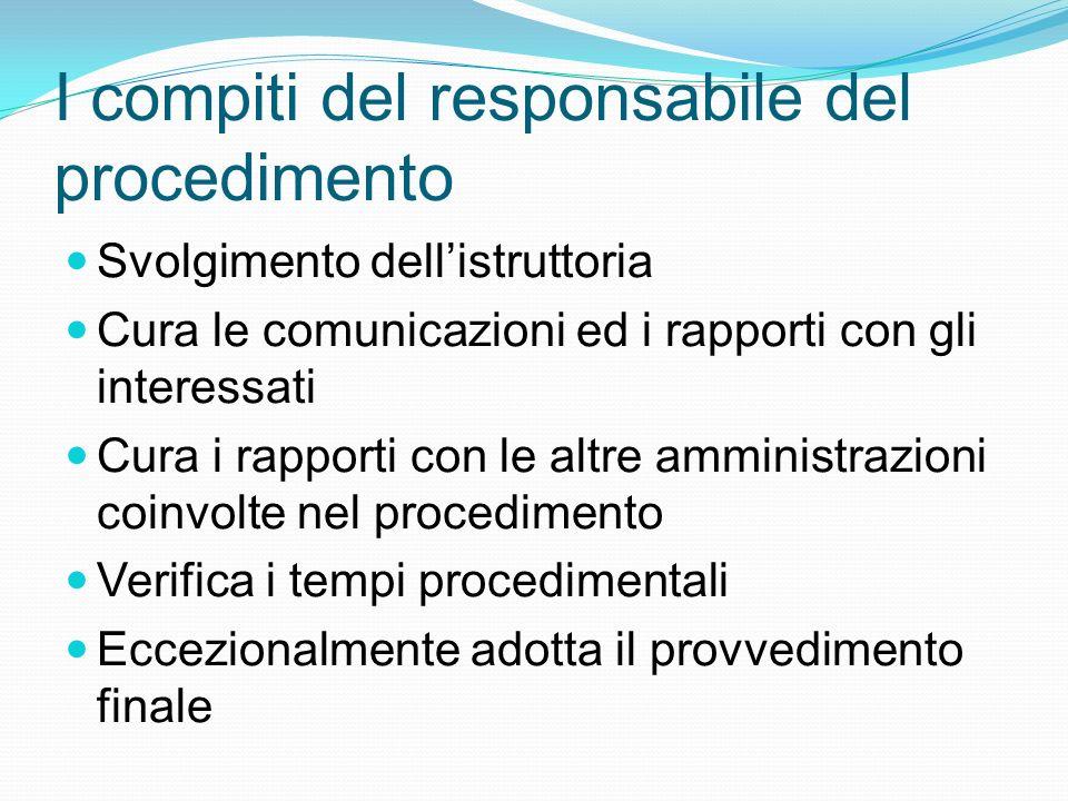 I compiti del responsabile del procedimento Svolgimento dellistruttoria Cura le comunicazioni ed i rapporti con gli interessati Cura i rapporti con le