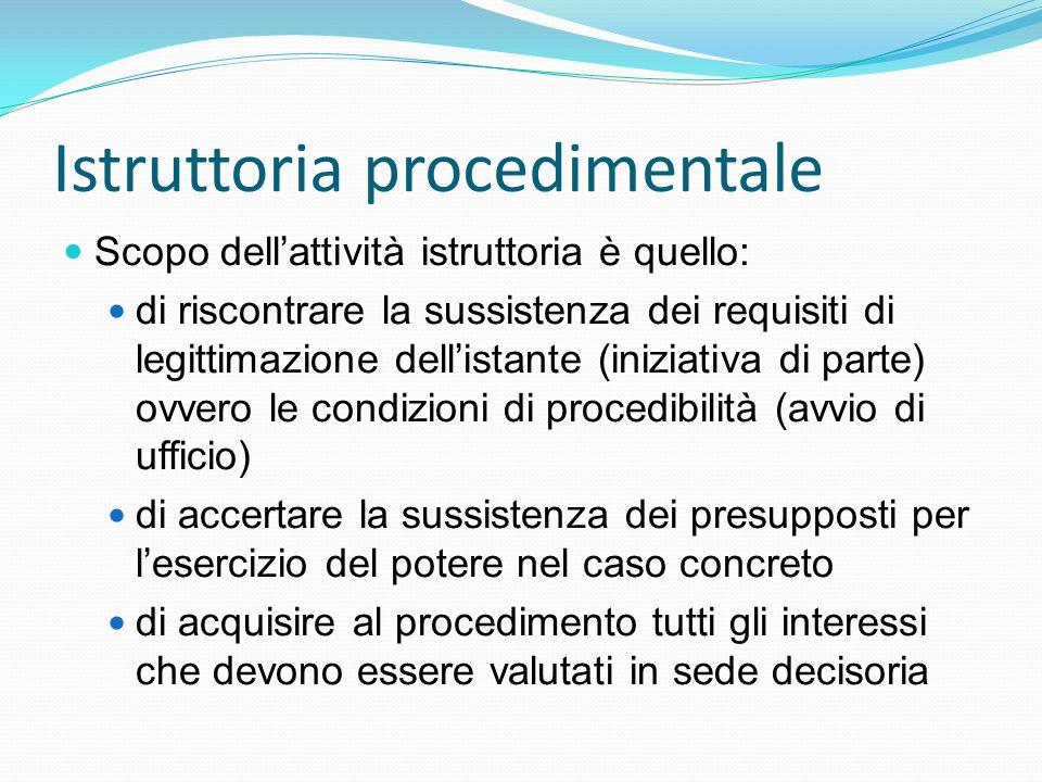 Istruttoria procedimentale Scopo dellattività istruttoria è quello: di riscontrare la sussistenza dei requisiti di legittimazione dellistante (iniziat