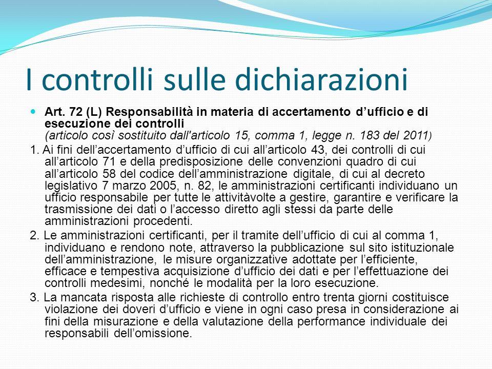 I controlli sulle dichiarazioni Art. 72 (L) Responsabilità in materia di accertamento dufficio e di esecuzione dei controlli (articolo così sostituito