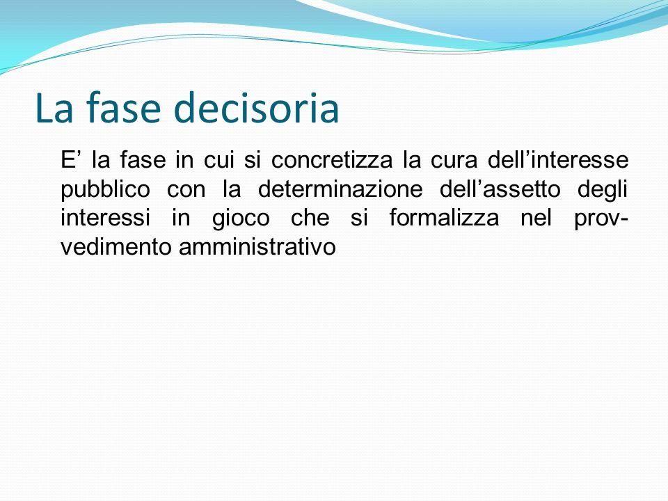 La fase decisoria E la fase in cui si concretizza la cura dellinteresse pubblico con la determinazione dellassetto degli interessi in gioco che si for