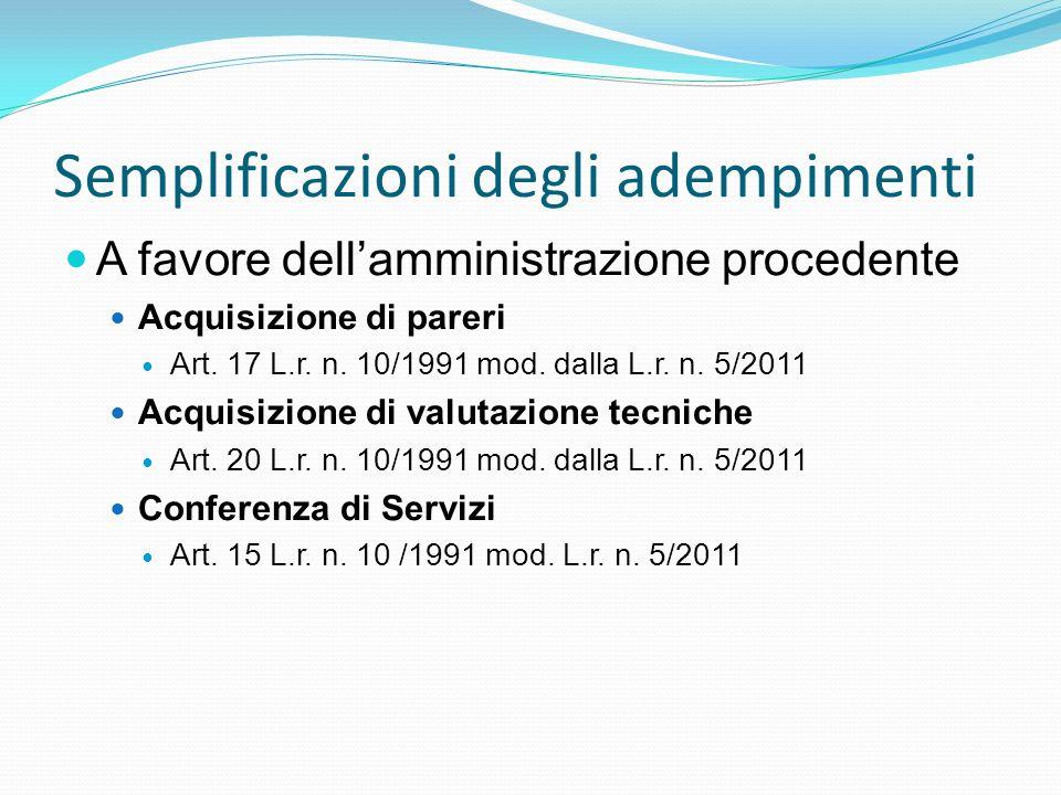 Semplificazioni degli adempimenti A favore dellamministrazione procedente Acquisizione di pareri Art. 17 L.r. n. 10/1991 mod. dalla L.r. n. 5/2011 Acq
