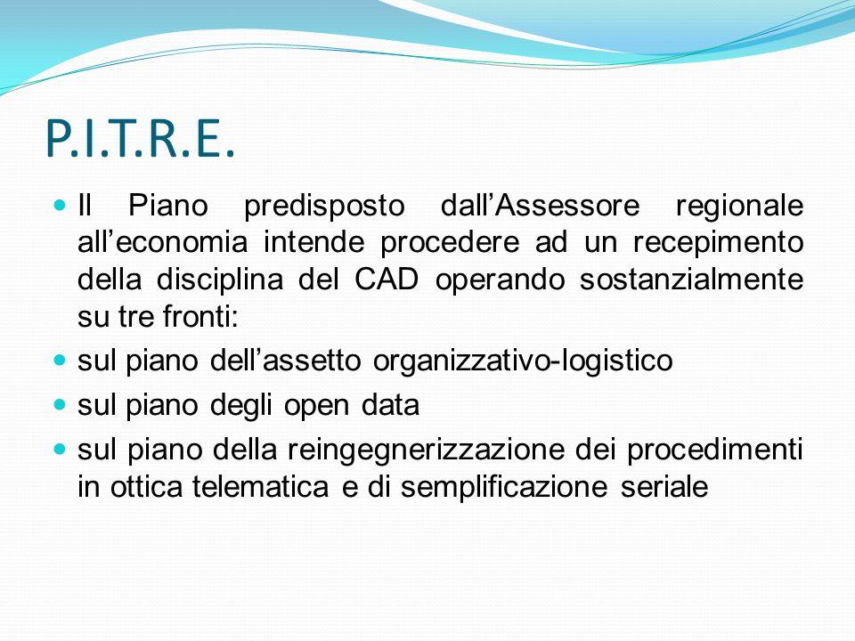 P.I.T.R.E. Il Piano predisposto dallAssessore regionale alleconomia intende procedere ad un recepimento della disciplina del CAD operando sostanzialme