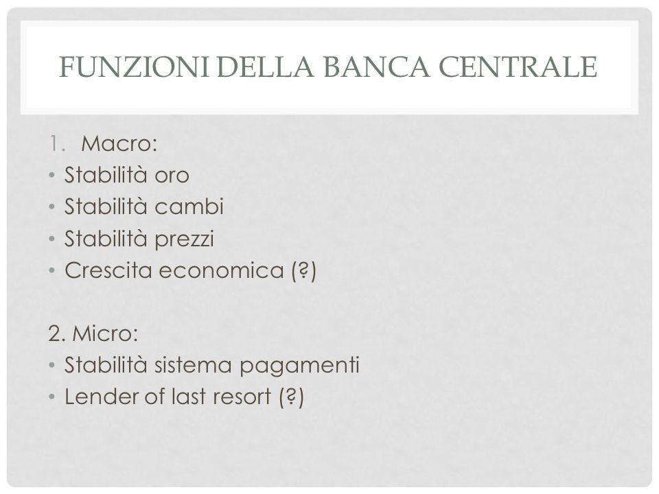 FUNZIONI DELLA BANCA CENTRALE 1.Macro: Stabilità oro Stabilità cambi Stabilità prezzi Crescita economica ( ) 2.
